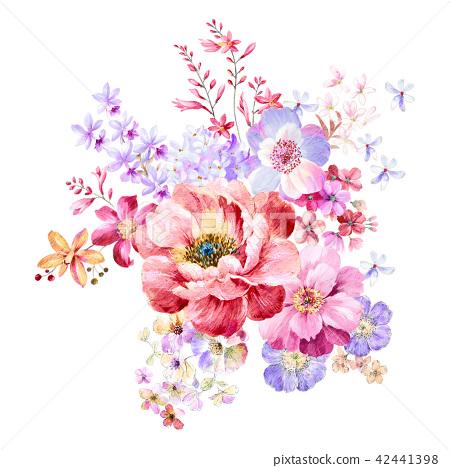 紅色水彩玫瑰花卉組合 42441398