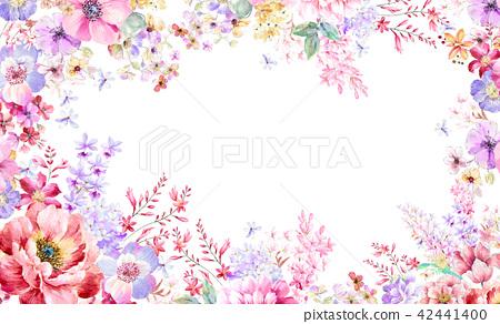 红色水彩玫瑰花卉组合 42441400
