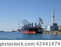 運載貨物和發電站的貨船 42441474