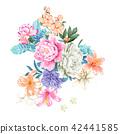 鲜艳的水彩玫瑰 42441585