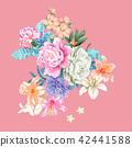鲜艳的水彩玫瑰 42441588