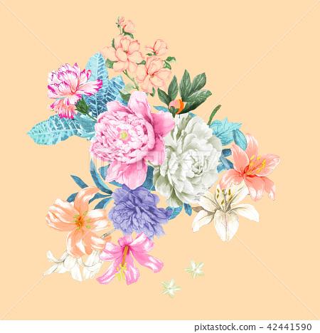 Bright watercolor rose 42441590