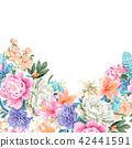 鲜艳的水彩玫瑰 42441591