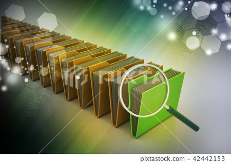 Magnifying glass with file folder 42442153