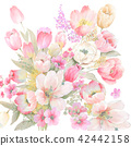 수채화 손으로 그려진 장미 꽃 컬렉션 42442158