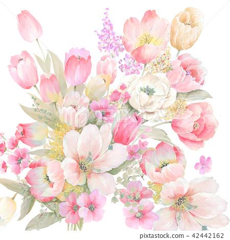 水彩手繪玫瑰花卉集合 42442162