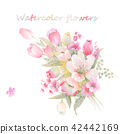 水彩手绘玫瑰花卉集合 42442169