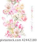 水彩手绘玫瑰花卉集合 42442180