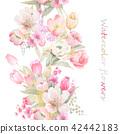 水彩手绘玫瑰花卉集合 42442183