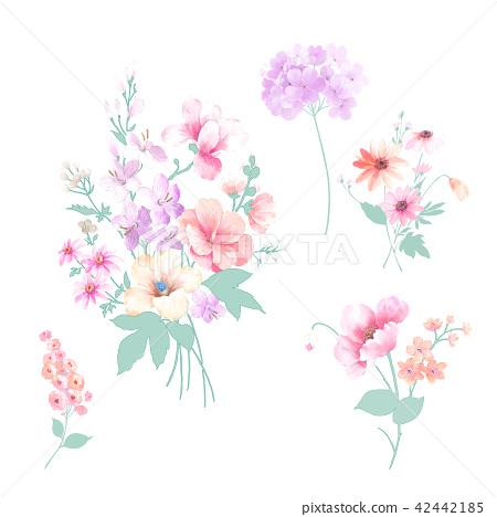水彩手繪玫瑰花卉集合 42442185