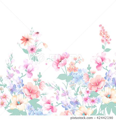 水彩手繪玫瑰花卉集合 42442190