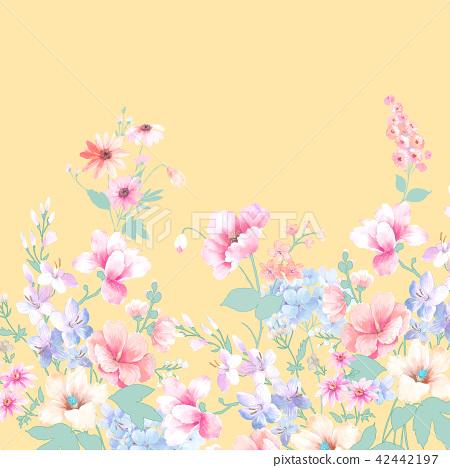 水彩手繪玫瑰花卉集合 42442197