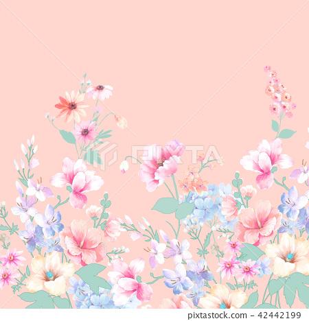 水彩手繪玫瑰花卉集合 42442199