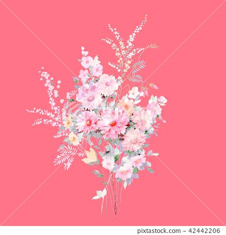 水彩手繪玫瑰花卉集合 42442206