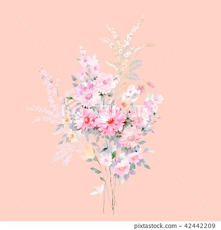 水彩手繪玫瑰花卉集合 42442209