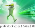 3d man throws a spear 42442338