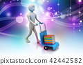 man with trolley for delivering books 42442582