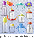 Baby bottle vector kids plastic container with milk or bottled liquid for drinking and child nipple 42442814