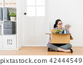 woman sitting on the wooden floor 42444549