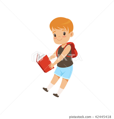 Cute boy jumping with book, elementary school student playing and learning vector Illustration on a 42445418