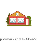 Brick house facade with windows, real estate vector Illustration on a white background 42445422