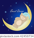 Teddy bear sleeping on the moon on nigt sky  42450734
