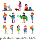 People with pet vector woman or man and children playing or hugging with animal characters cat dog 42451424