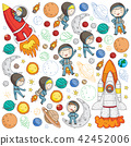 Space for children. Kids and cosmos exploration. Adventures, planets, stars. Earth and Moon. Rocket 42452006