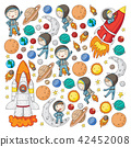 Space for children. Kids and cosmos exploration. Adventures, planets, stars. Earth and Moon. Rocket 42452008