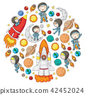 Space for children. Kids and cosmos exploration. Adventures, planets, stars. Earth and Moon. Rocket 42452024