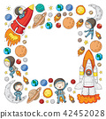 Space for children. Kids and cosmos exploration. Adventures, planets, stars. Earth and Moon. Rocket 42452028