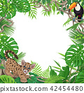 Tropical Background with Little Puma and Toucan 42454480