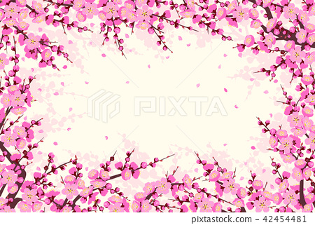 Horizontal Frame  with Plum Blossom Branches 42454481