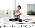 싱글라이프 거실에서 노트북사용 일상 42458921