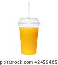 Transparent glass with fresh orange juice isolated on white background 42459465