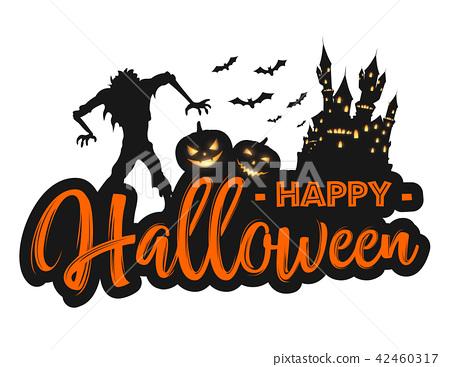 Happy Halloween background with creepy zombie, cas 42460317