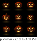 Set of Halloween pumpkins with different faces 42460350