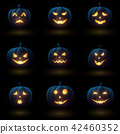 Set of Halloween pumpkins with different faces 42460352