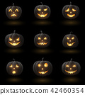 Set of Halloween pumpkins with different faces 42460354