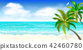 Tropical beach, palm trees 1 42460780