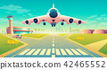 Vector takeoff of plane on landing strip 42465552