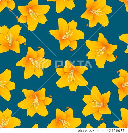 Orange Lily on Indigo Blue Background 42466071