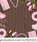 Romantic background, inspired by flat lay style 42469304