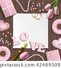 Romantic wedding or valentine motive illustration 42469308