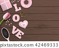 Pink letters LOVE, romantic motive, illustration 42469333