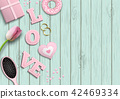 Pink letters LOVE, romantic motive, illustration 42469334