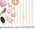 Pink letters LOVE, romantic motive, illustration 42469336