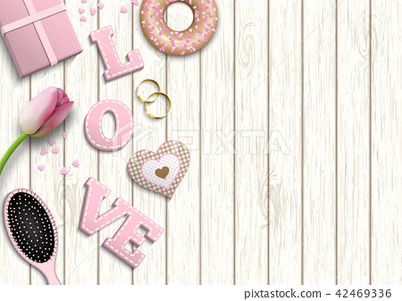 Pink letters LOVE, romantic motive, illustration 42469336