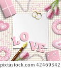 Romantic wedding or valentine motive, illustration 42469342