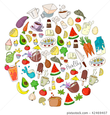 Pattern with healthy food  Cooking class, menu elements for